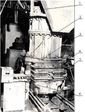 Appearance of the experimental stand: 1 – acoustical generator; 2 – working chamber;  3 – ignition device, 4 – filling framework; 5 – casting-box; 6 – measuring station