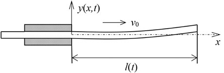 Schematic of an axially moving cantilever beam with a constant speed v0