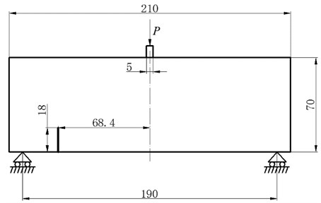 Geometry of the three-point bending beam with offset notch (all dimensions in mm)