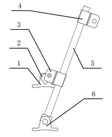 Shaking and screening mechanism:  1 – crankshaft bearing base, 2 – crankshaft,  3 – crankshaft slider, 4 – pendulum  rod slider, 5 –pendulum rod,  6 – pendulum rod base