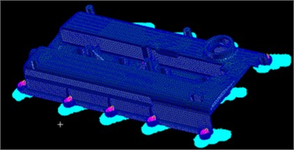 Dynamic stress calculation model of the cylinder head cover