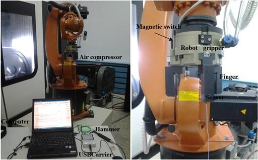 Modal test of 6-DOF industrial robot gripper