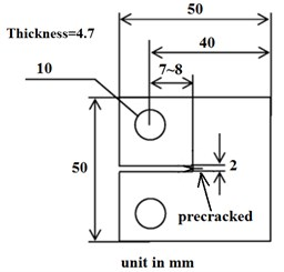 Geometry of CT specimen and pre-cracked specimen