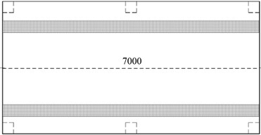 The rubber floating-slab track with linear supporting (unit: mm)