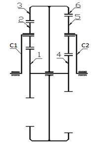 A kinematic scheme: C1 – input carrier, 1 – input sun gear, 2 – input planet gear, 3 – input internal ring gear, 4 –output sun gear, 5 –output planet gear, 6 – output internal ring gear, C2–output carrier