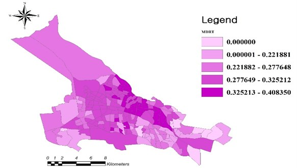 MDR of different regions of Tabriz in 2011