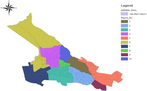 Overview map of the city of Tabriz with 10 municipality zones