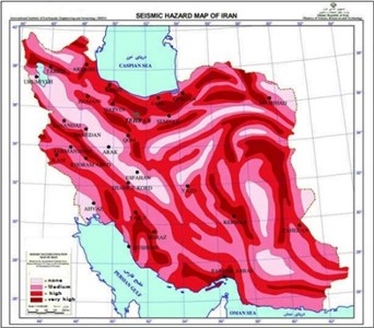 a) Iran's probabilistic seismic hazard map [2], b) distribution of Tabriz's faults [4]