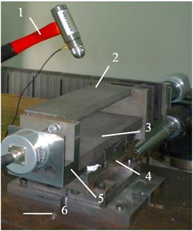 Impulse excitation response experiment:  1 – force hammer, 2 – hatch, 3 – support frame, 4 – piezoelectric balance, 5 – plug, 6 – test platform