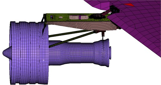 The whole mesh model of engine, fuse pins and wing