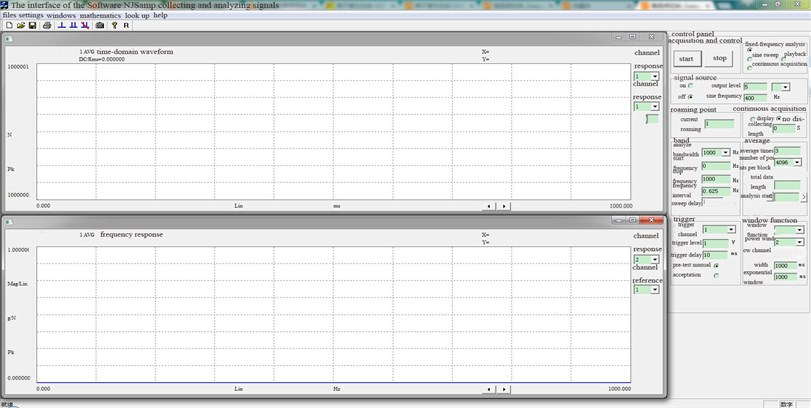 The interface of the Software NJSamp collecting and analyzing signals
