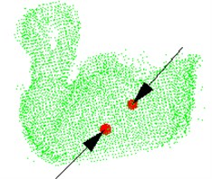 The green point cloud model: a) grasping point and pose, b) observation from another viewpoint,  c) the parameters are obtained after testing the model