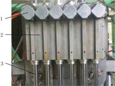 Integrated hydraulic cylinder set: 1 – electro-hydraulic servo valve, 2 – cylinder, 3 – piston rod