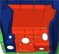 Position of some ribs in the dash panel