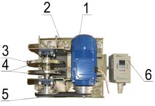 Mechanical exciter: 1 – electric motor, 2 – support, base of device, 3 – eccentric load,  4 – flywheel, 5 – belt transmission, 6 – frequency regulator