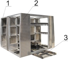 Discretised calculation and physical model of modular firefighting superstructures:  1 – front module, 2 – rear module, 3 – auxiliary chassis, 4 – acceleration sensors,  5 – acquisition system, 6 – excitation device. Segment A represents the upper part  of front module, as the location of placing the acceleration sensors in all main directions