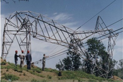 Wind induced collapse of transmission towers