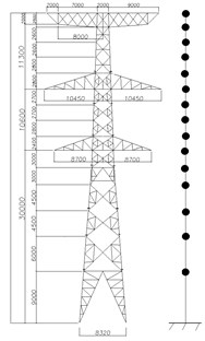 Simplified model of the  transmission tower (mm)