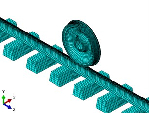 Model of a wheel-rail system: a) finite element model of the wheel-rail system; b) distribution of spring and damping elements between the rail and sleepers; c) contact schematic of the wheel-rail system