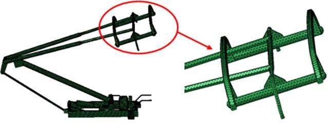 Aerodynamic grid model of the pantograph