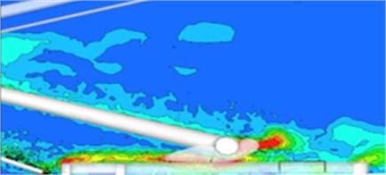Vorticity distribution contour of the pantograph