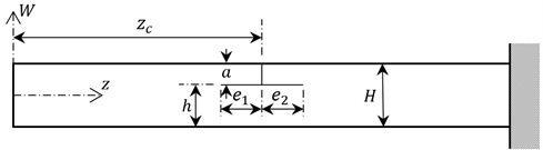 Dimensions of the beam with a T shaped crack