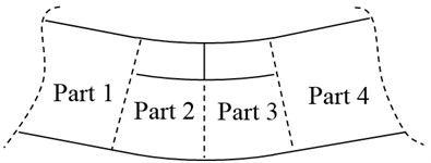 a) Open and b) closed phases of the crack