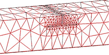 The FE package meshing view around T shaped crack
