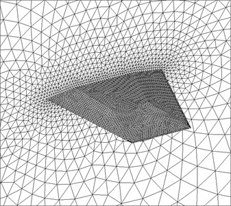 Partial view of the CFD surface grid for the fin and the symmetry plane