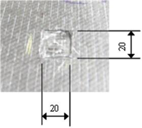 a) Specimen scheme, b) damage image (unit: mm)