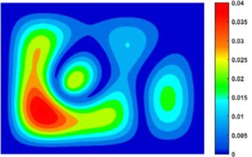 Displacement contour of composite plate at 100 Hz: a) WBM and b) FEM