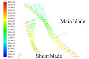 Velocity vectors on blade surfaces