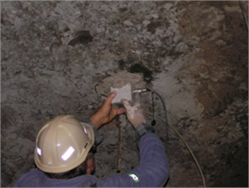 Location of the sensor on the roof of the mining corridor using gypsum binder