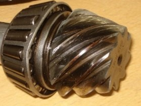 A pair of hypoid gears with wear and spot teeth fault
