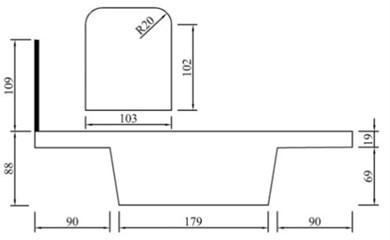 Train-bridge model with barrier (unit: mm)