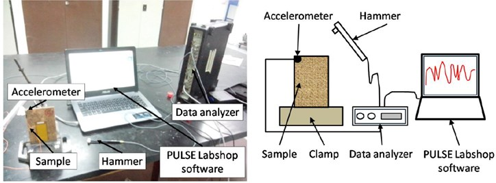 Experimental setup for impact hammer excitation in modal testing