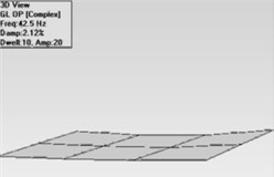 Mode shapes for embedded unwoven plate  a) first mode, b) second mode, c) third mode, d) fourth mode