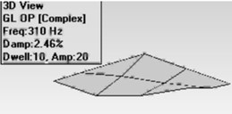 Mode shapes for bonded woven plate  a) first mode, b) second mode, c) third mode, d) fourth mode
