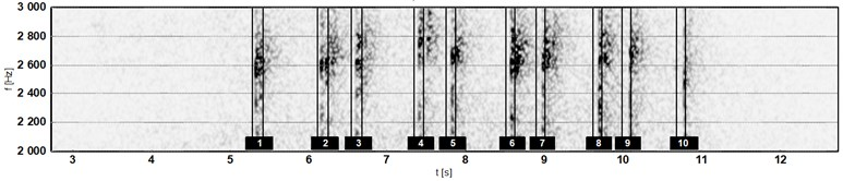 Spectrogram of noise signal of microphone M1; passing No. 120026 of trainset No. 115 (frequency range 2000-3000 Hz): a) response of side pantograph with high initial force and b) with low initial force