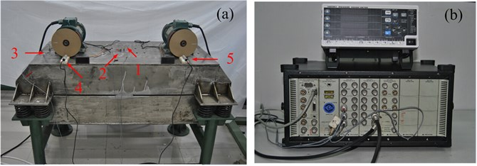 Experimental equipment a) vibration machine, b) data signal collecting devices