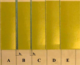 Assessment of folding quality: A-E – samples used for assessment of quality;  h1 and h2 – deviations of edge of the printing product