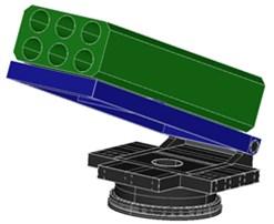 Dimension of demonstrative prototype for platform multi-launcher rocket system