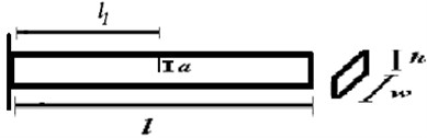 Geometry of cantilever beam with a crack