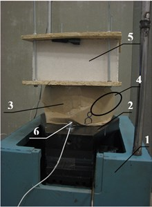 General view of rectangle three-layered corrugated cardboard package after the experiment at  shock acceleration 340 m/s2 and vertical load mass: 1 – shock generator; 2 – steel plate; 3 – sample;  4 – buckling of package longest sidewall into outer side; 5 – load mass m=15 kg; 6 – shock sensors