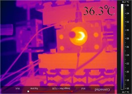 Thermo-graphic pictures obtained with a FLIR AX5 camera for a) t1= 0 h and b) t2=65.472 h, and temperature fluctuation of rolling bearings measured for c) t=3.61 h