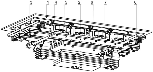 Oscillation system of the two-frequency resonant vibratory table general's view