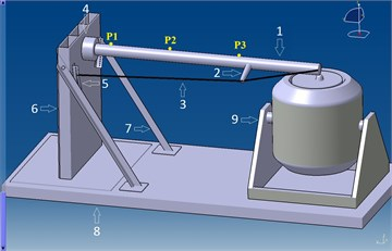 """Design of a research station1 – cross-trees 2 – spreader, 3 – shrouds,  4 – clamp (mounting of """"walling""""), 5 – rail, 6 – block supports, 7 – brackets,  8 – foundation posts, 9 – inductor, P1-P3 – measuring points)"""
