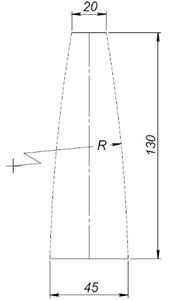 Forming waveguides – between two parallel lines arc of variable center arc is drawn:  a) close exponential shape, b) reverse close exponential shape