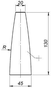 Modelled waveguide shapes and dimensions: a) cylindrical shape, b) conical shape,  c) stepped shape, d) close exponential shape, e) reverse close exponential shape