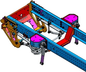 a) Front and b) rear suspension elements build-in frame of special vehicle (KPWW) [9]